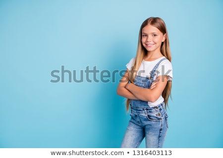 счастливая девушка оружия сложенный портрет Постоянный серый Сток-фото © deandrobot