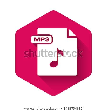 Mp3 téléchargement rose vecteur bouton icône Photo stock © rizwanali3d