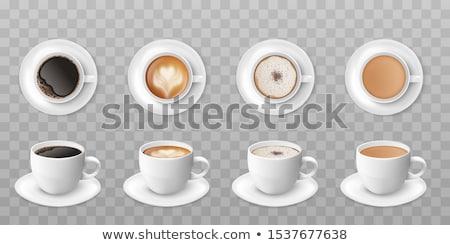 Porcelán csésze csészealj felső kilátás izolált Stock fotó © konturvid