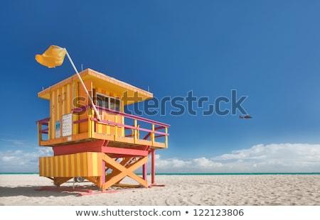 lifeguard houses in miami beach stock photo © lunamarina