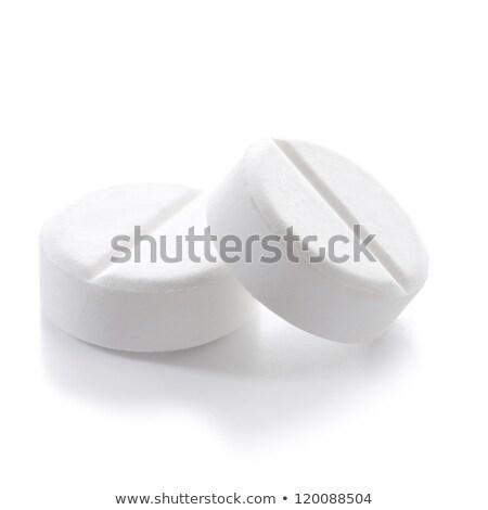 Kettő aszpirin közelkép lövés pohár rozsdamentes acél Stock fotó © 350jb