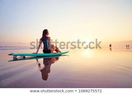 Piękna dziewczyna morza surfowania kobieta uśmiech Zdjęcia stock © Paha_L