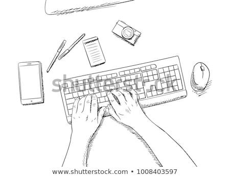 gomb · kéz · sajtó · pop · art · retró · stílus · zene - stock fotó © netkov1