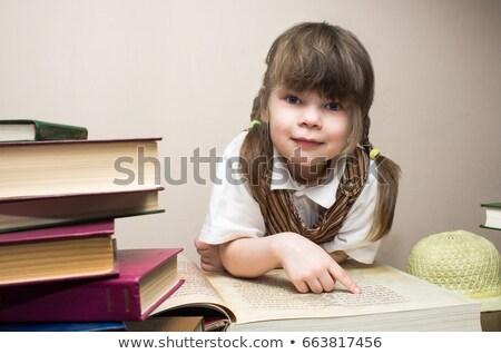 meisje · Rood · blouse · gelukkig · verwonderd · witte - stockfoto © ddvs71
