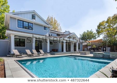 quintal · piscina · residencial · casa · primavera · grande - foto stock © elenaphoto