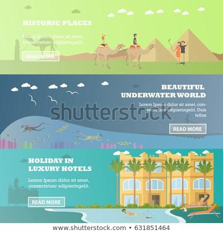 Stock fotó: Hotel · vízszintes · bannerek · szett · színes · hotelszoba