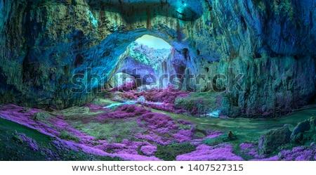 внутри каменные пещере синий воды пород Сток-фото © cienpies