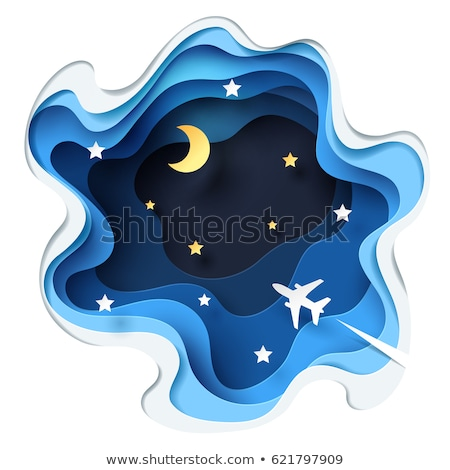 airplane flying to the moon concept on blue sky with clouds stock photo © radub85
