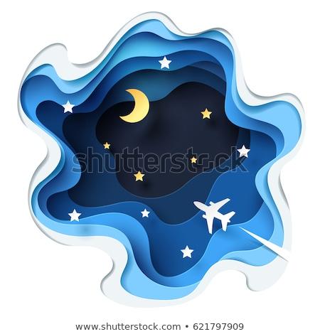 Avion battant lune ciel bleu nuages fond Photo stock © radub85