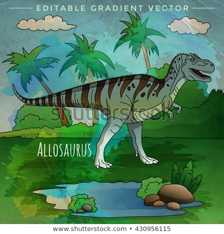 Dinosaures habitat illustration nature paysage tropicales Photo stock © ConceptCafe