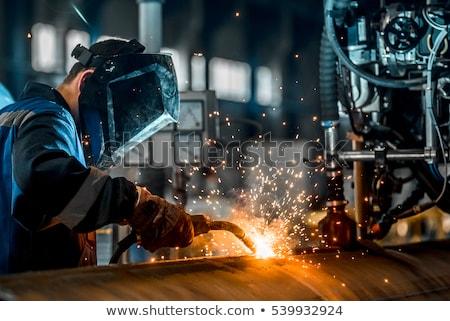 Travailleurs industrielle usine soudage construction travaux Photo stock © zurijeta