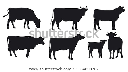 vaches · vache · groupe · noir · silhouette - photo stock © laschi