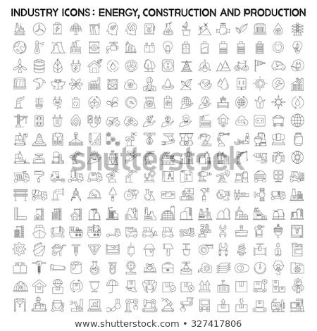 Stock fotó: Olajipar · energia · vonal · ikon · szett · modern · stílus