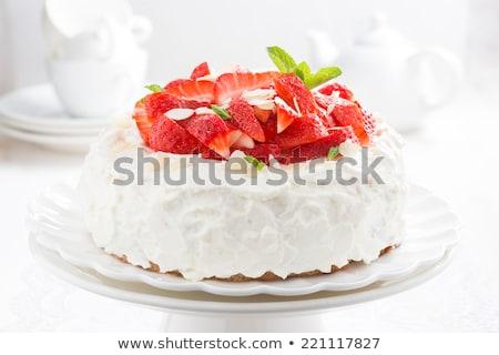 Fresco morangos açúcar de confeiteiro comida fruto prato Foto stock © Digifoodstock