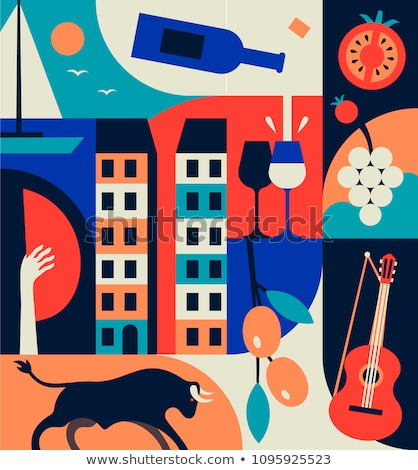 バルセロナ フラグ シンボル セット 食品 抽象的な ストックフォト © doomko