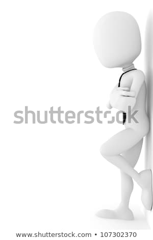 Foto stock: Hombre · 3d · blanco · pared · ilustración · aislado