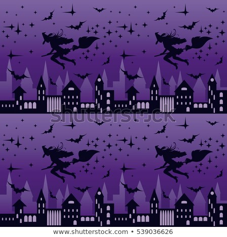 night city with flying witch silhouette seamless pattern vector illustration stock photo © carodi