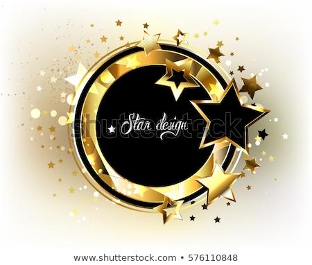 Rectangulaire bannière or étoiles noir cadre Photo stock © blackmoon979