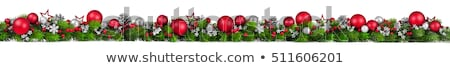 merry christmas frame with green pine colorful baubles and stars stock photo © davidarts