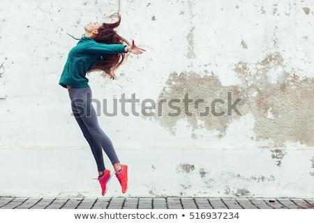 springen · actief · vrouw · gymnasium · boven · houten - stockfoto © bezikus