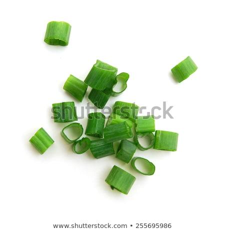 Aprított zöldhagyma friss stúdiófelvétel étel hagyma Stock fotó © Digifoodstock