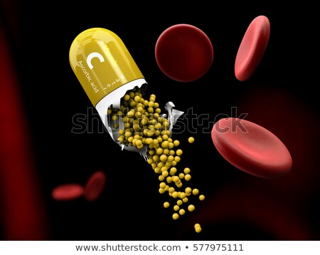 illustration of vitamin c capsule dissolves in the stomach stock photo © tussik