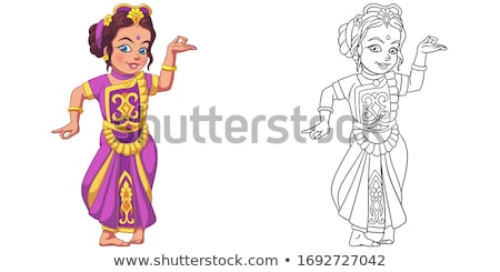 Outlined indian girl in sari. Coloring page vector illustration Stock photo © maia3000