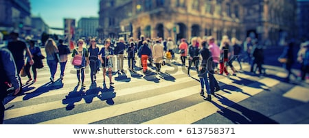 Woman walking over pedestrian zebra crossing Stock photo © stevanovicigor