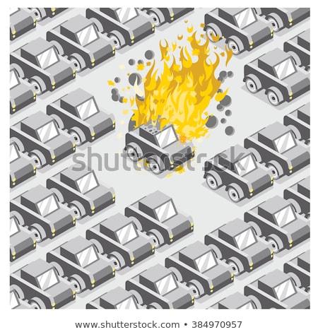 Carro veículo estacionamento abandonado roubado fogo Foto stock © stevanovicigor