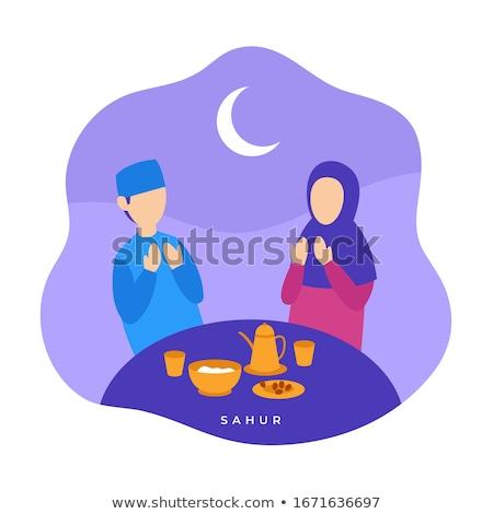 Moslim paar eten maaltijd voedsel diner Stockfoto © artisticco