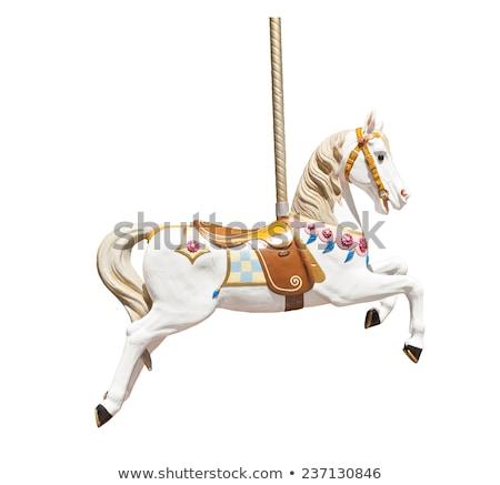 cavalos · vintage · parque · de · diversões · madeira · cavalo · pintar - foto stock © tracer