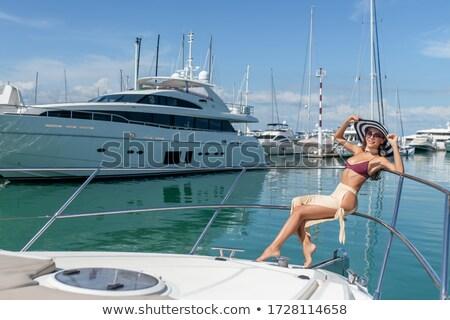 mooie · vrouw · vaarwel · schip · strand · hemel · zon - stockfoto © deandrobot