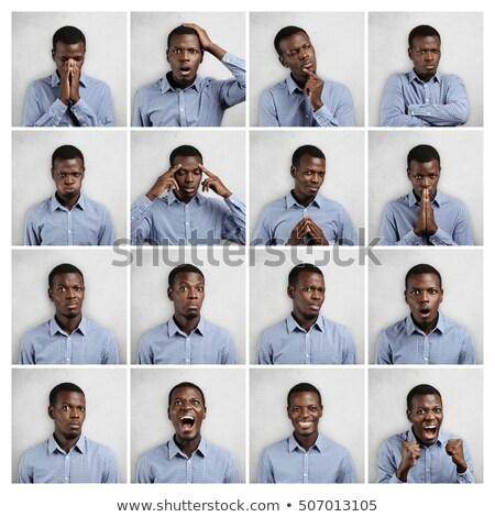 Foto stock: Múltiplo · imagem · homem · expressões · composição · digital