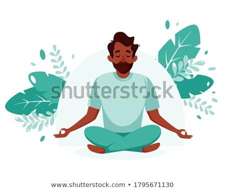 Vector flat style illustration of afro american man doing yoga. Stock photo © curiosity
