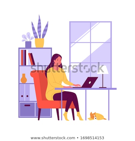 illustration of pretty woman with her dog stock photo © curiosity