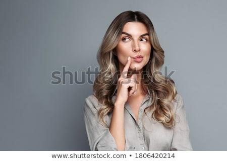Figyelmes üzletasszony másfelé néz áll fehér nő Stock fotó © wavebreak_media