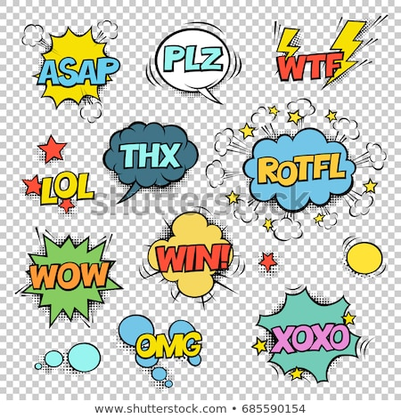 Сток-фото: Thx Plz Wtf Lol Rotfl Wow Win Omg Comic Speech Bubbles