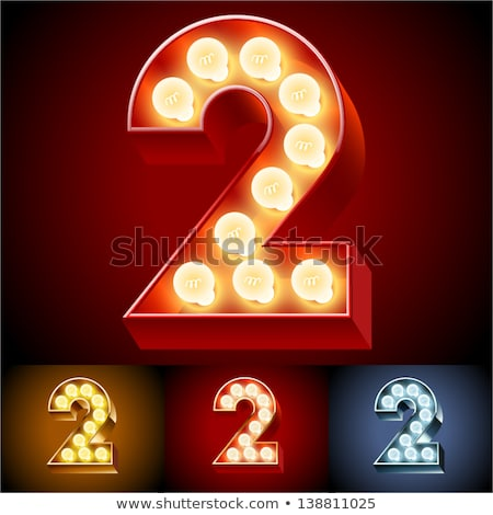 Number 2 lamp glowing font. Vintage light bulb alphabet sign two Stock photo © popaukropa