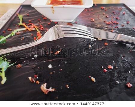 boş · yemek · bıçak · çatal · kahverengi · peçete - stok fotoğraf © amok