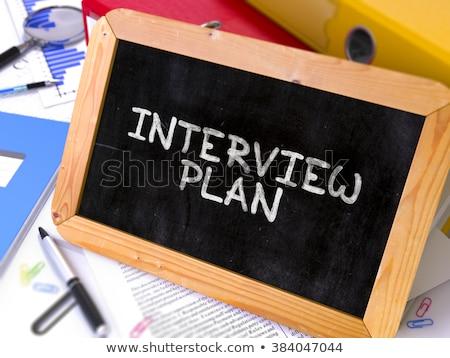 Stockfoto: Interview · plan · schoolbord · werken · tabel