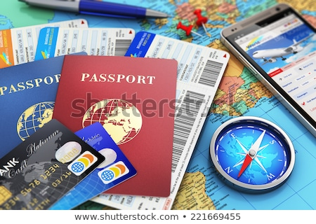 Internationaux identification document Voyage bleu passeport Photo stock © oblachko