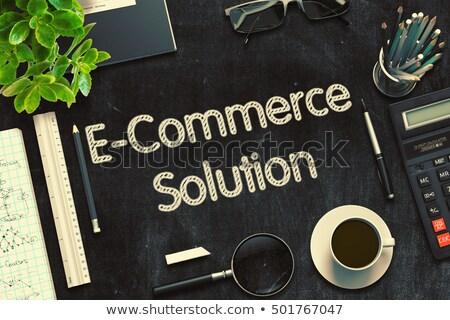 e commerce solution on black chalkboard 3d rendering stock photo © tashatuvango
