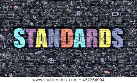 Standaard doodle ontwerp iconen opschrift donkere Stockfoto © tashatuvango