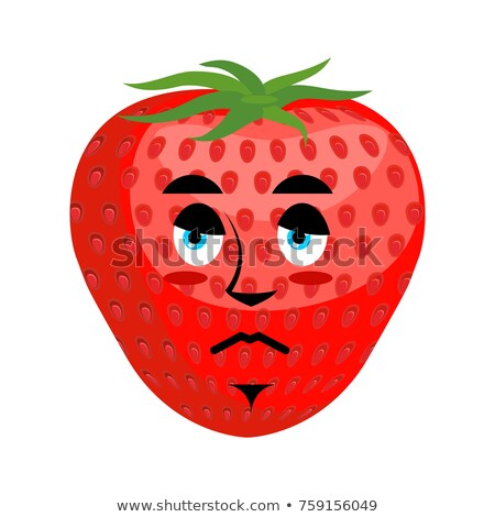 Strawberry Sad Emoji. Red berry sorrowful emotion isolated Stock photo © popaukropa