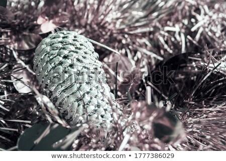 Karácsony girland ezüst lila díszek fenyő Stock fotó © TasiPas