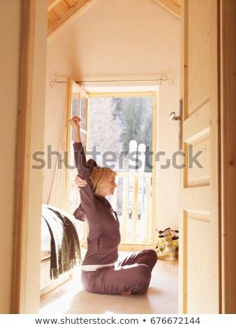 mulher · varanda · porta · esquiar · quarto - foto stock © is2