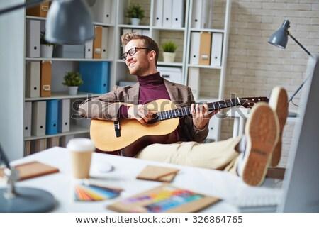 jungen · gut · aussehend · Geschäftsmann · spielen · Gitarre · Büro - stock foto © lightfieldstudios