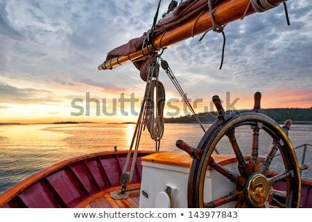 Bağbozumu yelkencilik tekne pastoral ada Hırvatistan Stok fotoğraf © kasto