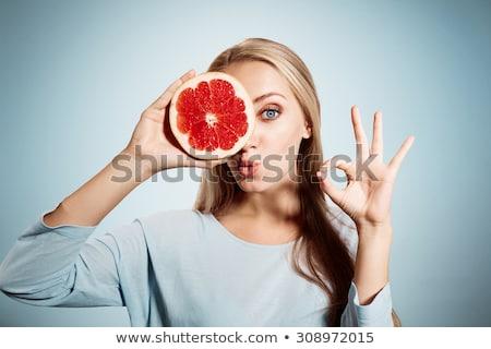 Foto stock: Mujer · pomelo · aislado · blanco · alimentos · cara