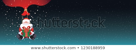 karácsony · boldog · új · évet · szalag · sötét · hópelyhek · ajándékdobozok - stock fotó © Leo_Edition